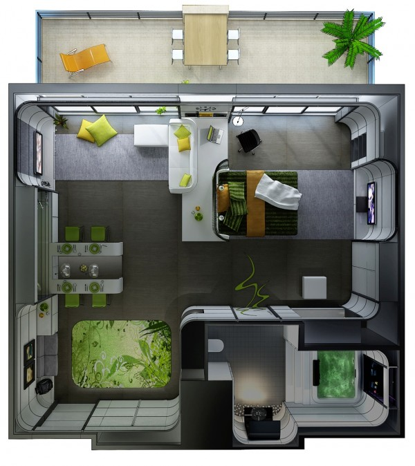 Huso-Uniquely-Shaped-Hotel-Suite-600x674