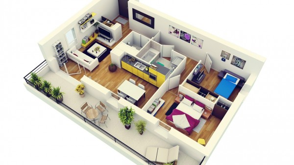 Modern-Two-Bedroom-Apartment-with-Balcony-600x337
