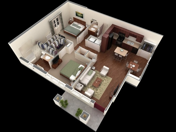 Simple-Two-Bedroom-Apartment-PLan-600x450