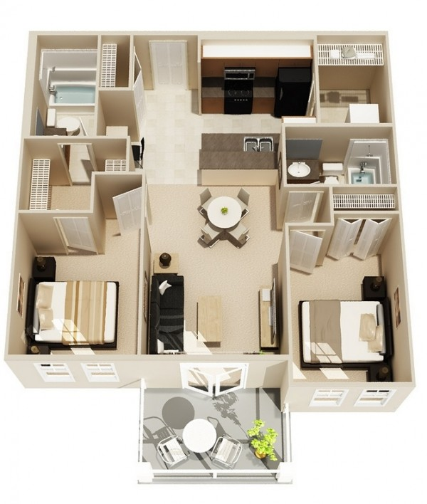 Simple-Two-Bedroom-Floor-Plan-600x708
