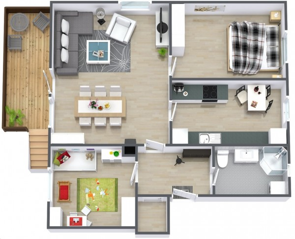 Simple-Two-Bedroom-House-Plan-600x487